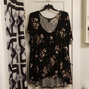Black, white, and pink floral shirt